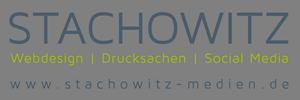 Firmenlogo in blauer Farbe von Stachowitz Medien