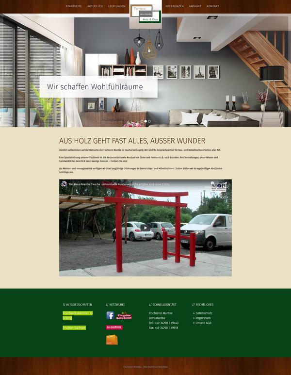 Neue Website der Tischlerei Mantke aus Taucha b. Leipzig